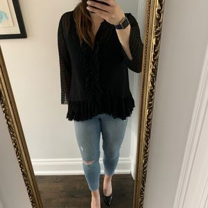 Zara Sheer Ruffled Blouse - Size XL